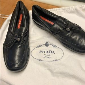 PRADA Logo Black Leather Adjustable Comfy Loafers
